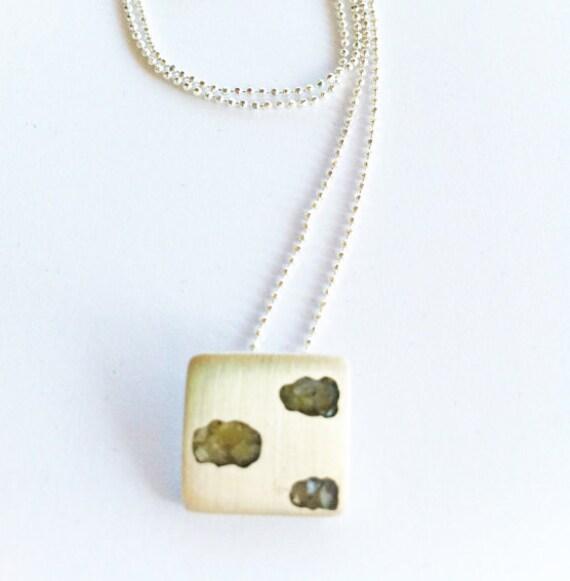 Clouds Pendant, Rainy day pendant, silver cloud necklace,