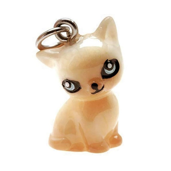 3-D Hand Painted Resin Siamese Cat Charm, Qty 1