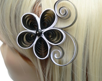 Black Flower Hair Clip, Mod Wedding Hair Accessory, Modern Wedding Hair Piece, Black and White