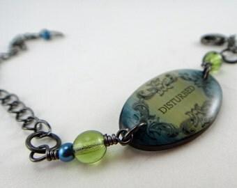 resin bracelet, disturbed bracelet,olive green ,indigo blue , goth bracelet, sarcastic humor
