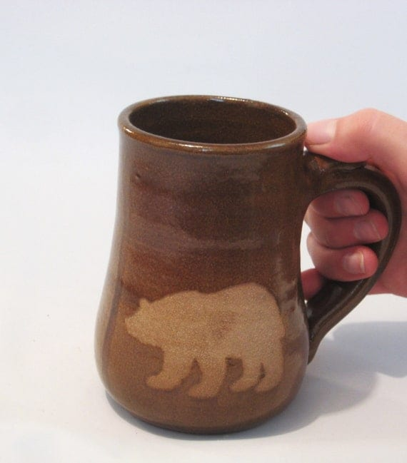 Bare Bear Mug - Brown Clay Wild Animal Silhouette Art Rustic Golden Amber Handmade Pottery Coffee, Tea Cup
