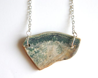 Antique Sea Pottery Necklace, Green Chesapeake Bay Beach Pottery Jewelry