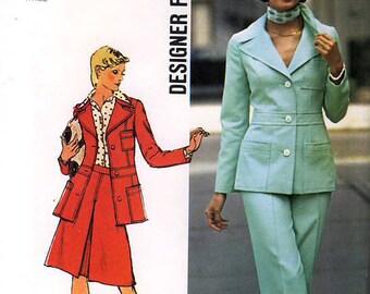 Simplicity 6175 Designer Fashion Vintage 70s Misses' Jacket, Skirt and Pants Sewing Pattern - Uncut - Size 10 - Bust 32.5