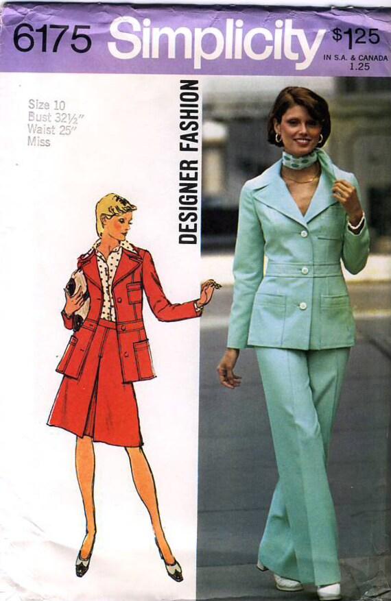Simplicity 6175 designer fashion vintage 70s misses jacket skirt and