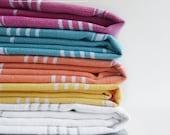 Free Shipment SET 6 Piece Turkish BATH Towel - Turkey Peshtemal - Classic Peshtemal - White - Dark gray - Pink - Yellow - Blue - Orange