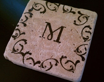 """Personalized Gift Tile Coasters 4"""" x 4"""" Custom Coaster, Tumbled Stone, Natural Stone, Monogrammed Coasters, Gifts under 25 set of four"""