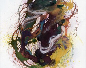 Coil IX / Giclee Print / abstract watercolor painting / yellow / green / tangle / nature / organic / seasons / nature