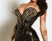 Spike studded crystal pleather plunge overbust made to order corset