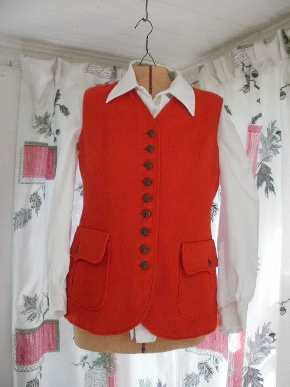 Vintage Vest,Red Wool, Evan Picone, Union Label