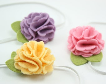 CHOOSE ONE Felt Flower Headband - Headbands - Baby Headbands - Flower Headbands - Newborn Headbands - Photography Prop