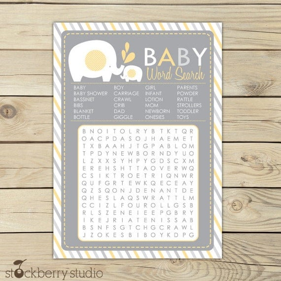 Elephant Baby Shower Baby Word Search Game   Gray Yellow Baby Shower Games  Printable   Instant Download   Girl Neutral Baby Shower Activity
