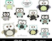 Baby Owl Clipart illustration for scrapbooking, baby shower