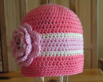 Child Hat  for child,  teen, adults  with flower in choice of colors - Aussie pink/kiwi