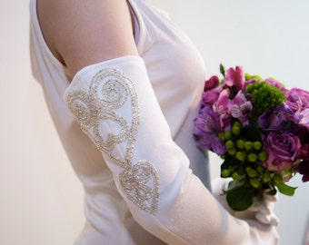 Beaded Heart Opera Length Glove