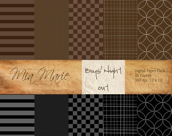 INSTANT DOWNLOAD - Digital Papers Scrapbooking Backgrounds Black Brown Gray checkerboard grid stripes concentric circles Printable 12x12 jpg