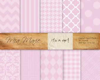 INSTANT DOWNLOAD - Digital Papers Scrapbooking Backgrounds Pink, Chevron, Quatrefoil, Damask, Stripes, Gingham, Harlequin Printable 12x12