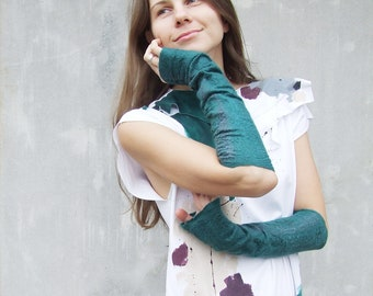 Fingerless Gloves, Arm Warmers, Felted Mittens, Wool Mittens, Green Wool Gloves, Hand Warmers, Winter Gloves,Long Gloves,Fashion Accessories