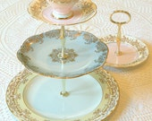 Alice Takes the Cake, Pastel Yellow, Blue & Pink Cupcake Stand, 3 Tiers Vintage China for Wedding, Birthday Party or High Tea