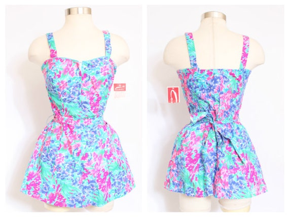 VTG 1942 CEEB Swimsuit Romper Playsuit  Floral Bathingsuit M/L