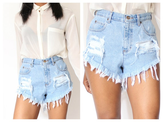 Ripped Denim Shorts High Waisted