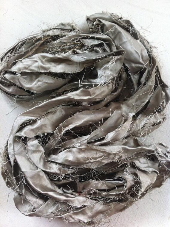 Recycled sari silk ribbon.  Art yarn. Craft ribbon. Beautiful handmade yarns. Silver.