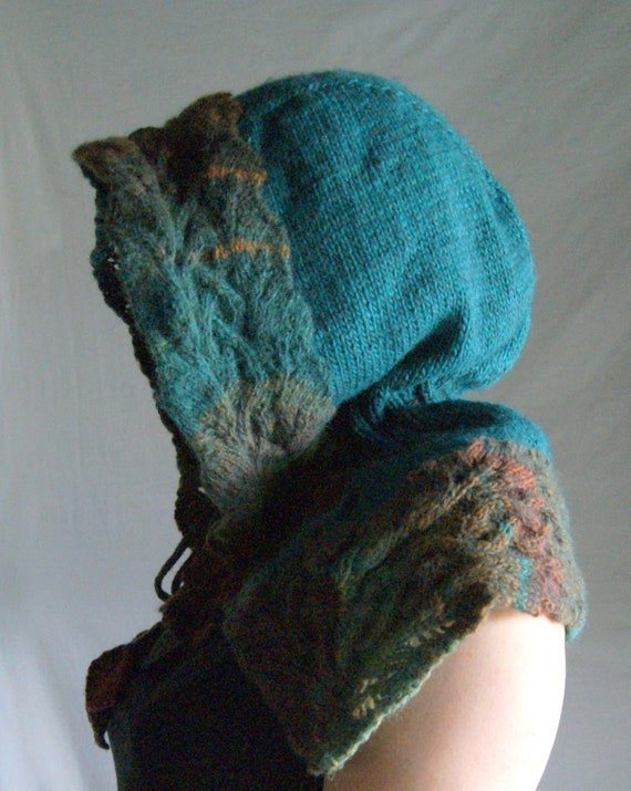 RESERVED FOR katydidit416 ----Hand Knit Collared Hood trimmed with celtic knotwork vines leaves in fall colors  Exsquisite Luxury