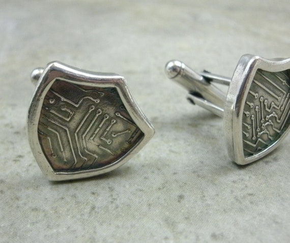 Medieval Geekery Cufflinks in Fine & Sterling Silver- Fathers Day Gift- For Him Men Accessory- Gift For Dad- Circuit Board Shield Cuff Links