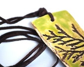 Lime green chocolate brown, thuja, hand pressed botanical pattern, ooak, leather, organic, natural