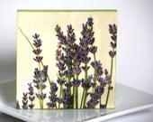 Lavender decoupage coaster, purple green flowers, perfect gift for her him hostess
