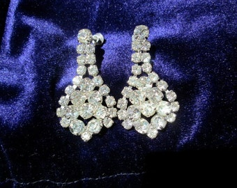 Rhinestone earrings 2 inch clear Glass SALE