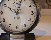 Vintage Urban Industrial Big Ben Alarm Clock with Black Chippy Paint - AloofNewfWhimsy