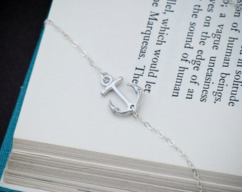 Sideways Anchor Necklace, SILVER Anchor Jewelry, Navy Necklace, Nautical Jewelry, Dainty Necklace