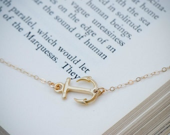 Sideways Anchor Necklace, GOLD Anchor Jewelry, Navy Necklace, Nautical Jewelry, Dainty Necklace