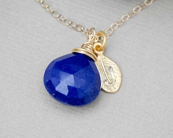 Initial Charm Necklace, Birthstone Necklace Lapis Lazuli 14K GOLD FILL Necklace, Bridesmaids Jewelry, Personalized Jewelry, Mother's Jewelr