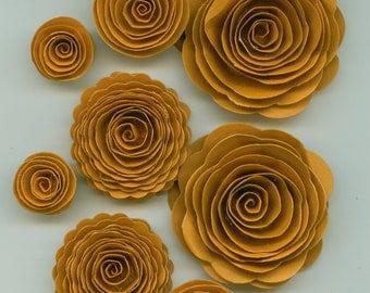 Pumpkin Autumn Handmade Spiral Paper Flowers