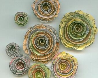 Travel the World Atlas Map Inspired  Handmade Spiral Rose Paper Flowers