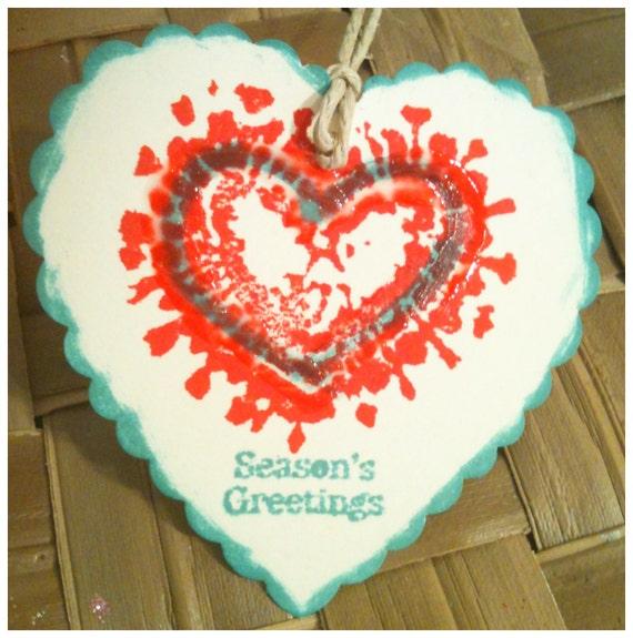 SIX Hand Stamped Christmas Heart Seasons Greetings Red Green Modern Art Seasonal Gift Tags