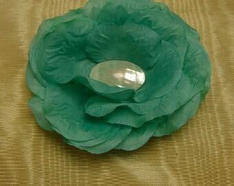 Turquoise Flower bridal fascinator,Derby Hat,Fall flower fascinator,turquoise flower comb, Flower girl flower fascinator,costume headpiece