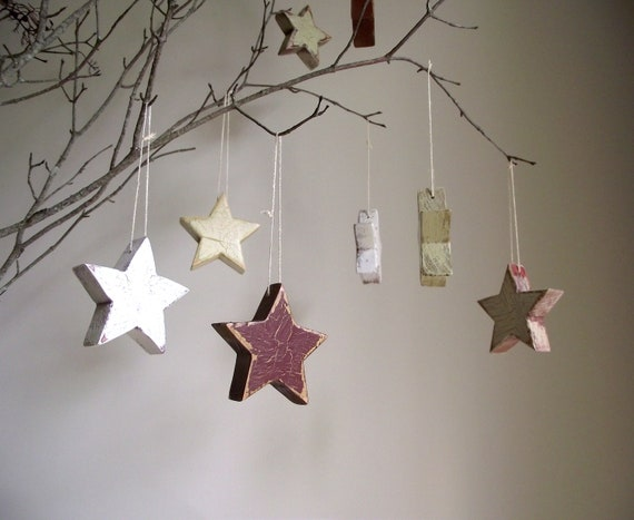 Antiqued Wood Stars Handpainted Decoration Salvaged Wood Farmhouse Country Cottage Decor Set of 4 SALE