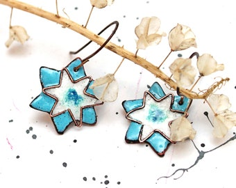 "Copper Enamel earrings ""Christmas star"""