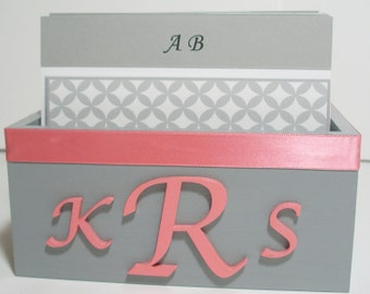 Wedding Guest Book Box Set -Coral Grey & White, Monogram Style, Custom Colors Available