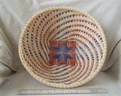 Swirling Star Bowl Basket - blue and brown