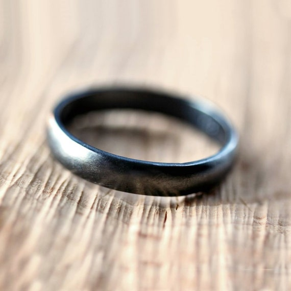 Black Silver Wedding Band, Brushed  Men's or Women's Unisex 4mm Low Dome Recycled Argentium Sterling Silver Oxidized Ring -  Made to Order