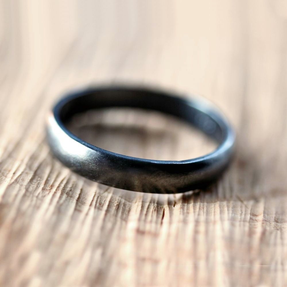 Black Silver Wedding Band Brushed Mens Or Womens