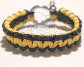 Pittsburgh Steelers 550 Paracord Survival Strap Bracelet Anklet with Stainless Steel Shackle
