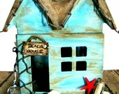 Beach House - Hand-Painted Paper Mache House