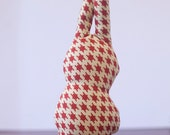 Red Houndstooth Bunny Dog Toy