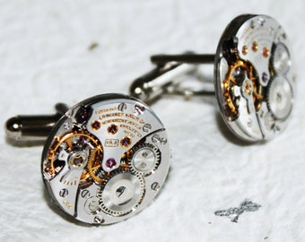 LONGINES Men Steampunk Cufflinks - GENUINE Luxury Swiss Silver High Grade Vintage Watch Movement - Men Steampunk Cufflinks / Cuff Links Gift