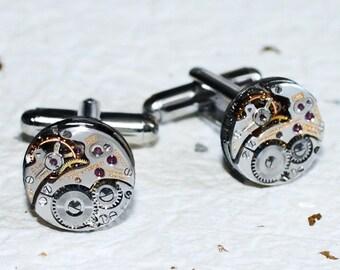 LONGINES Men Steampunk Cufflinks - Rare Luxury Swiss Silver Vintage Watch Movement Men Steampunk Cufflinks Cuff Links Men Wedding Gift Men