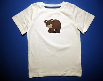 Baby one piece or toddlers tshirt. - Embroidery and appliqued boys bear